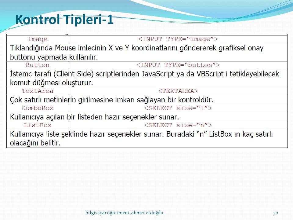 Kontrol Tipleri-1 bilgisayar öğretmeni: ahmet erdoğdu
