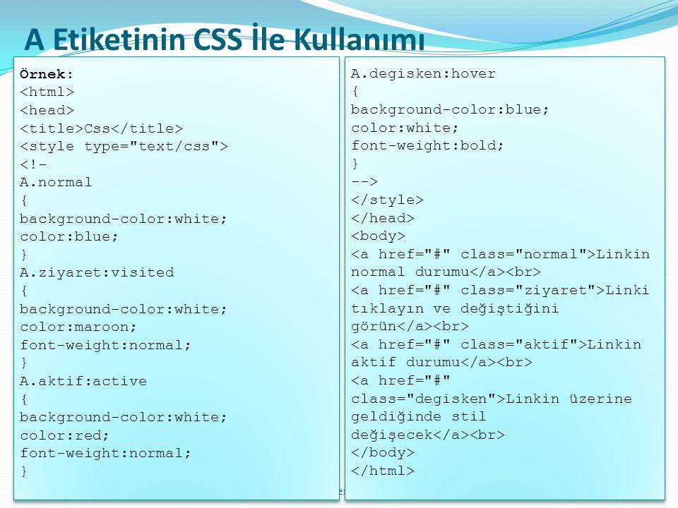 A Etiketinin CSS İle Kullanımı
