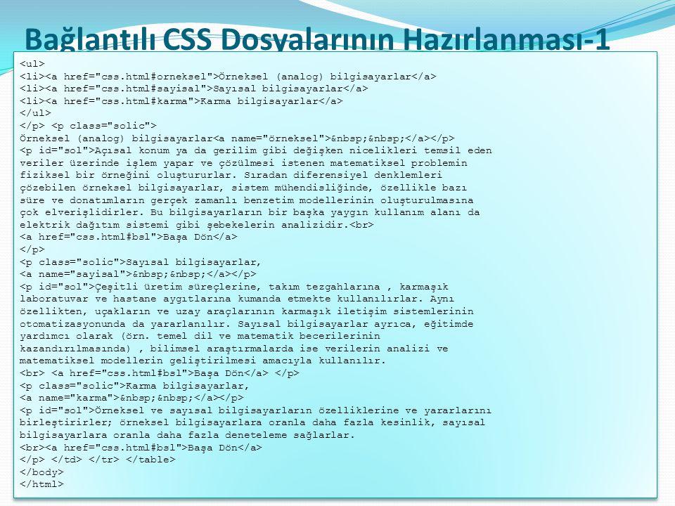 Bağlantılı CSS Dosyalarının Hazırlanması-1