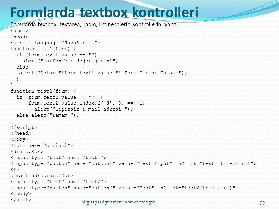 Formlarda textbox kontrolleri