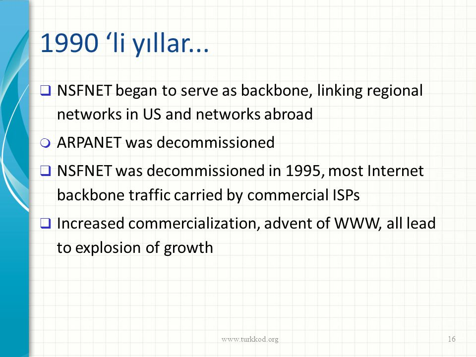1990 'li yıllar... NSFNET began to serve as backbone, linking regional networks in US and networks abroad.