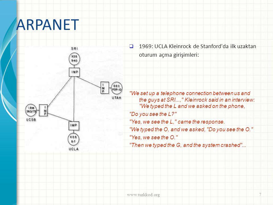 ARPANET 1969: UCLA Kleinrock de Stanford da ilk uzaktan oturum açma girişimleri: