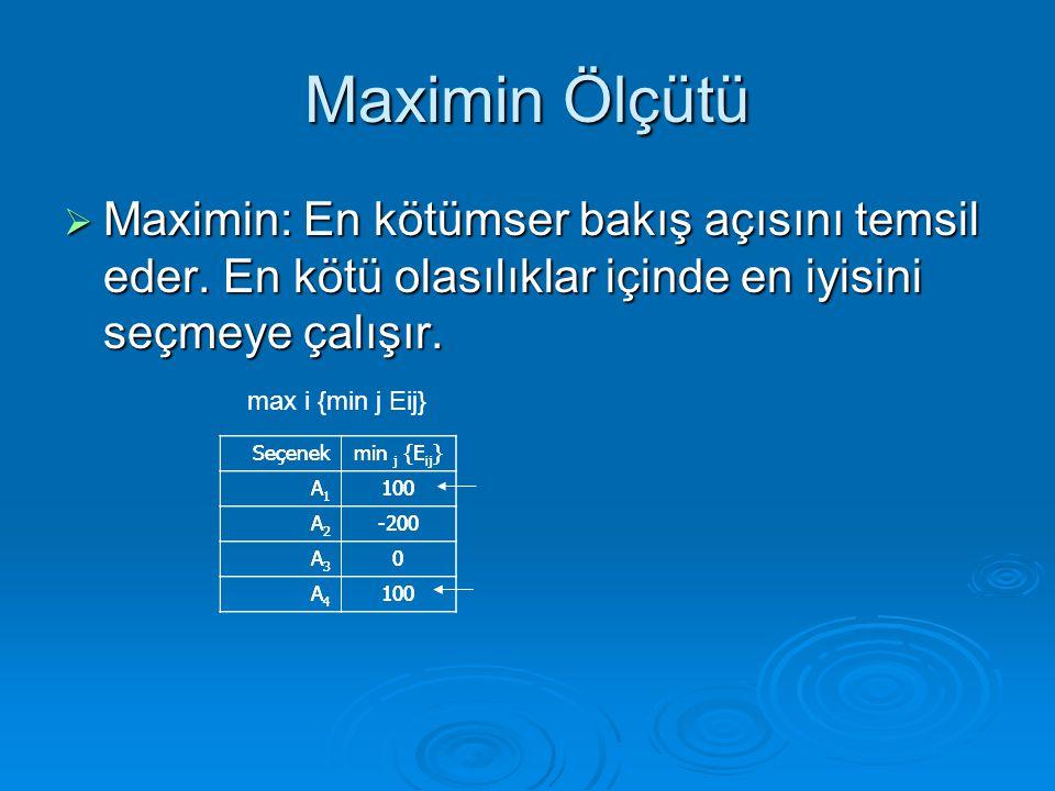 Maximin Ölçütü Maximin: En kötümser bakış açısını temsil eder. En kötü olasılıklar içinde en iyisini seçmeye çalışır.