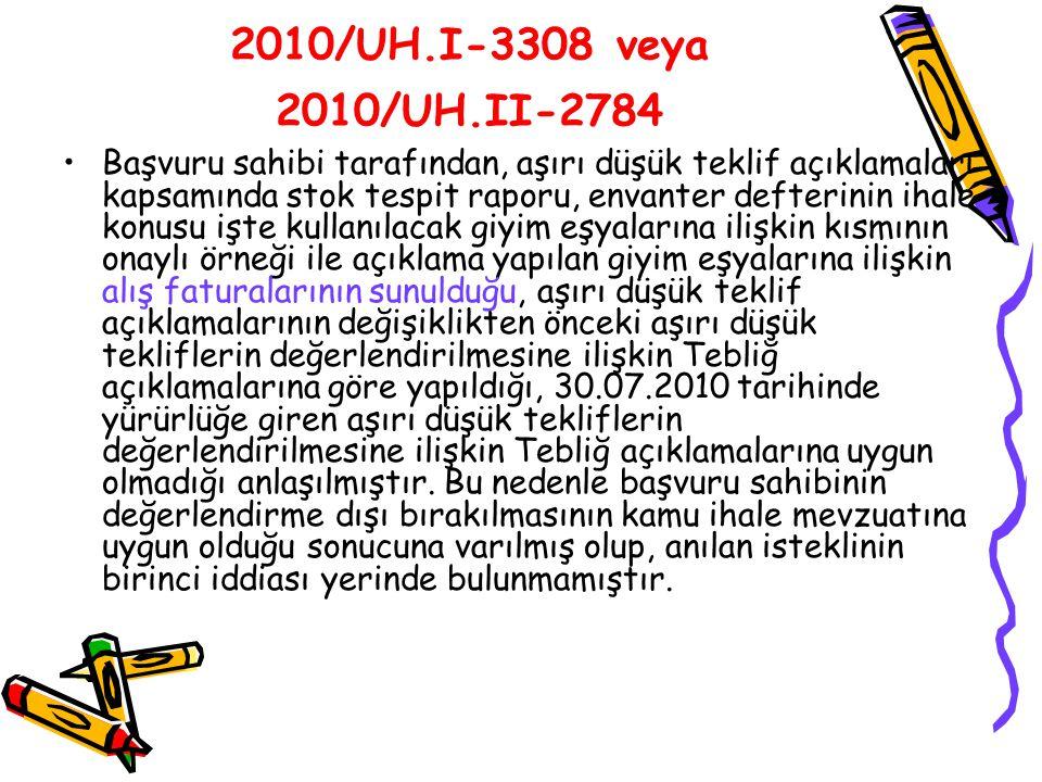 2010/UH.I-3308 veya 2010/UH.II-2784