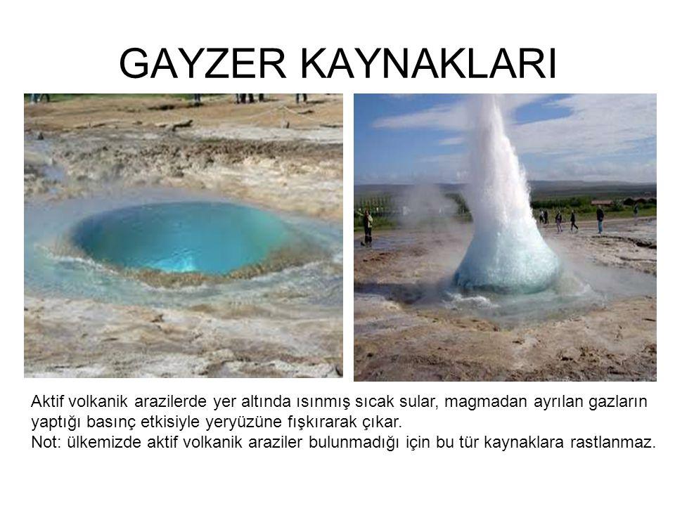 GAYZER KAYNAKLARI Aktif volkanik arazilerde yer altında ısınmış sıcak sular, magmadan ayrılan gazların.