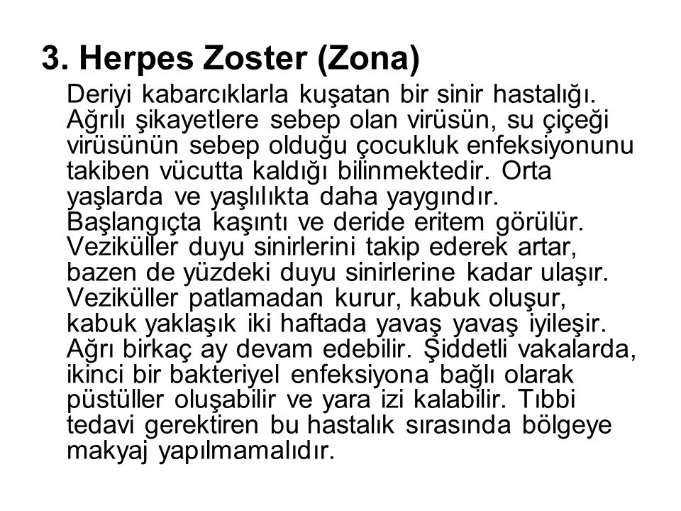 3. Herpes Zoster (Zona)