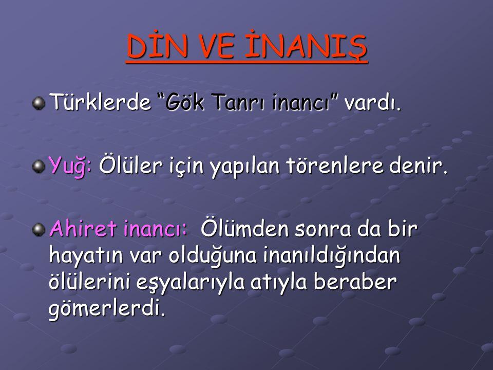 DİN VE İNANIŞ Türklerde Gök Tanrı inancı vardı.