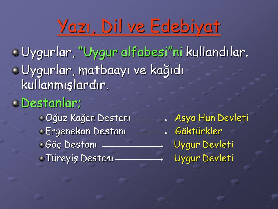 Yazı, Dil ve Edebiyat Uygurlar, Uygur alfabesi ni kullandılar.