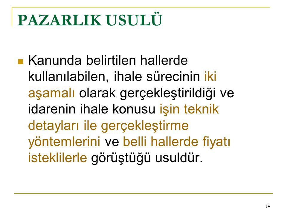 PAZARLIK USULÜ
