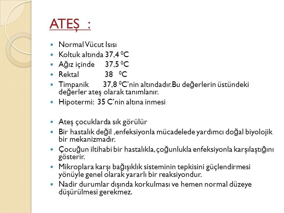 ATEŞ : Normal Vücut Isısı Koltuk altında 37,4 0C Ağız içinde 37,5 0C