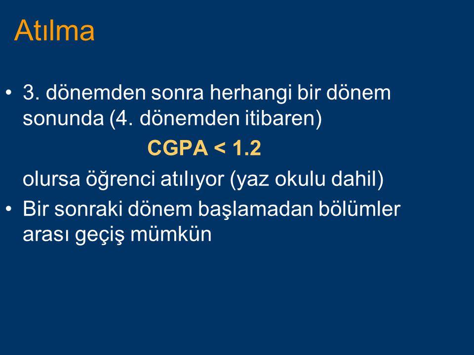 Atılma 3. dönemden sonra herhangi bir dönem sonunda (4. dönemden itibaren) CGPA < 1.2. olursa öğrenci atılıyor (yaz okulu dahil)