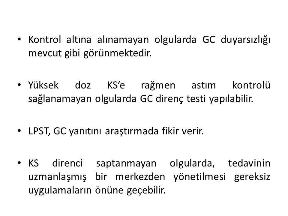 Kontrol altına alınamayan olgularda GC duyarsızlığı mevcut gibi görünmektedir.
