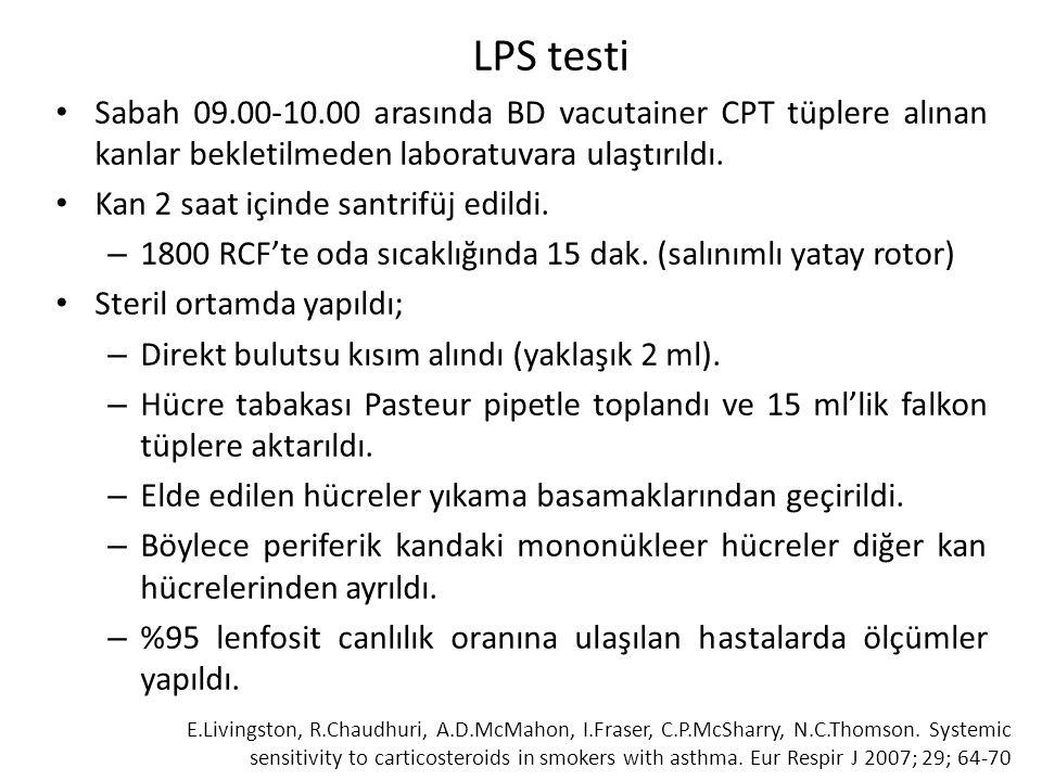 LPS testi Sabah 09.00-10.00 arasında BD vacutainer CPT tüplere alınan kanlar bekletilmeden laboratuvara ulaştırıldı.