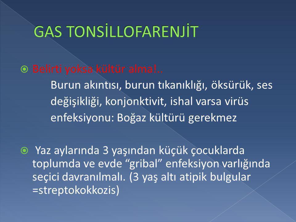 GAS TONSİLLOFARENJİT Belirti yoksa kültür alma!..