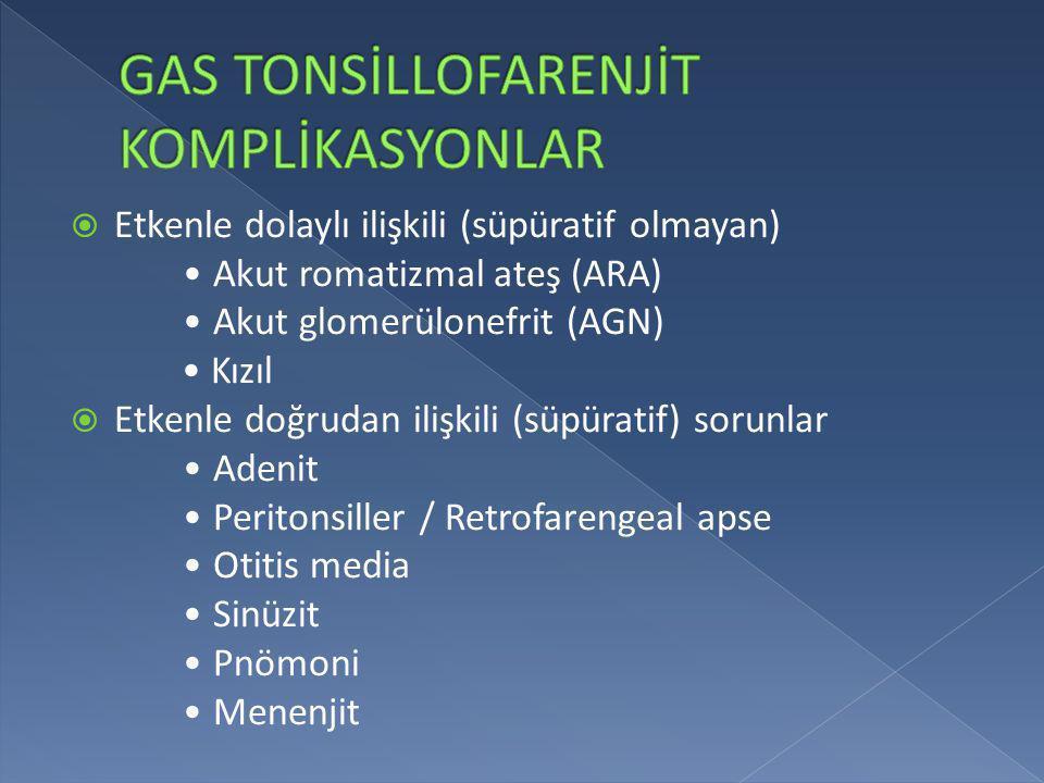 GAS TONSİLLOFARENJİT KOMPLİKASYONLAR