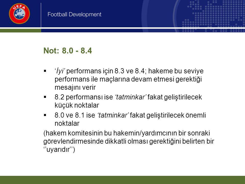 Not: 8.0 - 8.4 'İyi' performans için 8.3 ve 8.4; hakeme bu seviye performans ile maçlarına devam etmesi gerektiği mesajını verir.
