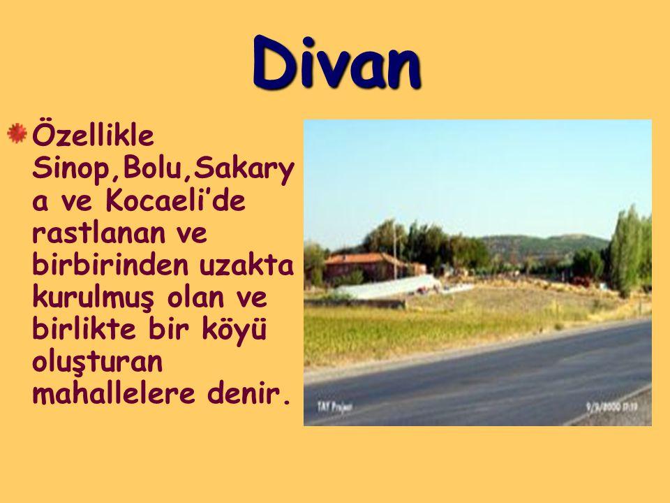 Divan Özellikle Sinop,Bolu,Sakarya ve Kocaeli'de rastlanan ve birbirinden uzakta kurulmuş olan ve birlikte bir köyü oluşturan mahallelere denir.