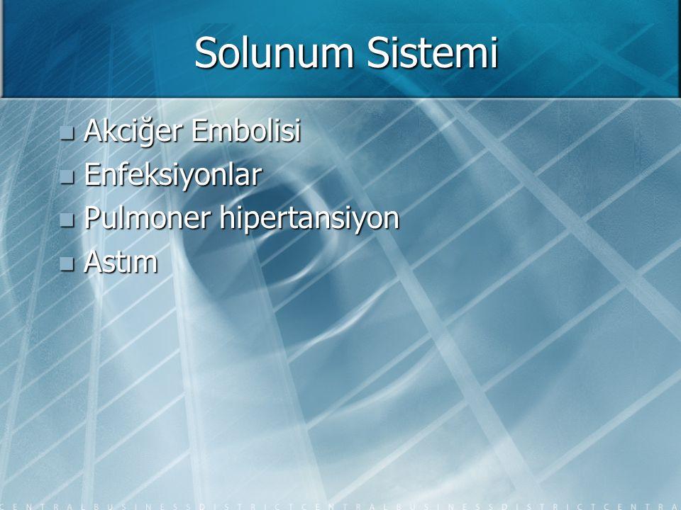 Solunum Sistemi Akciğer Embolisi Enfeksiyonlar Pulmoner hipertansiyon