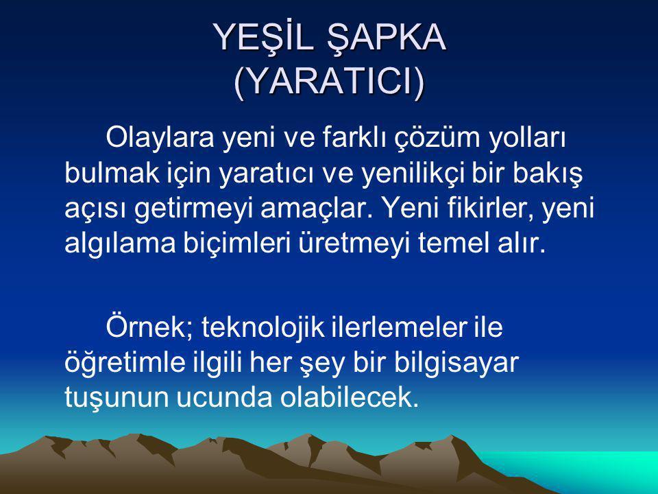 YEŞİL ŞAPKA (YARATICI)