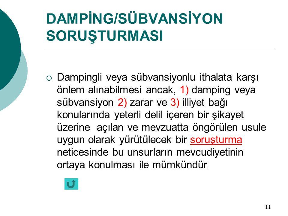 DAMPİNG/SÜBVANSİYON SORUŞTURMASI
