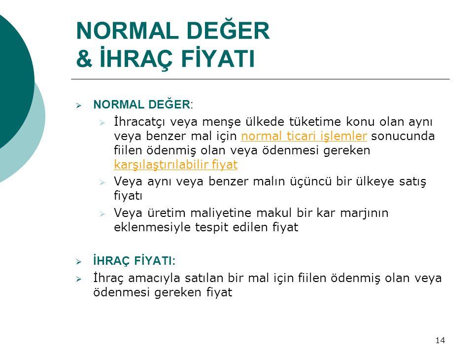 NORMAL DEĞER & İHRAÇ FİYATI