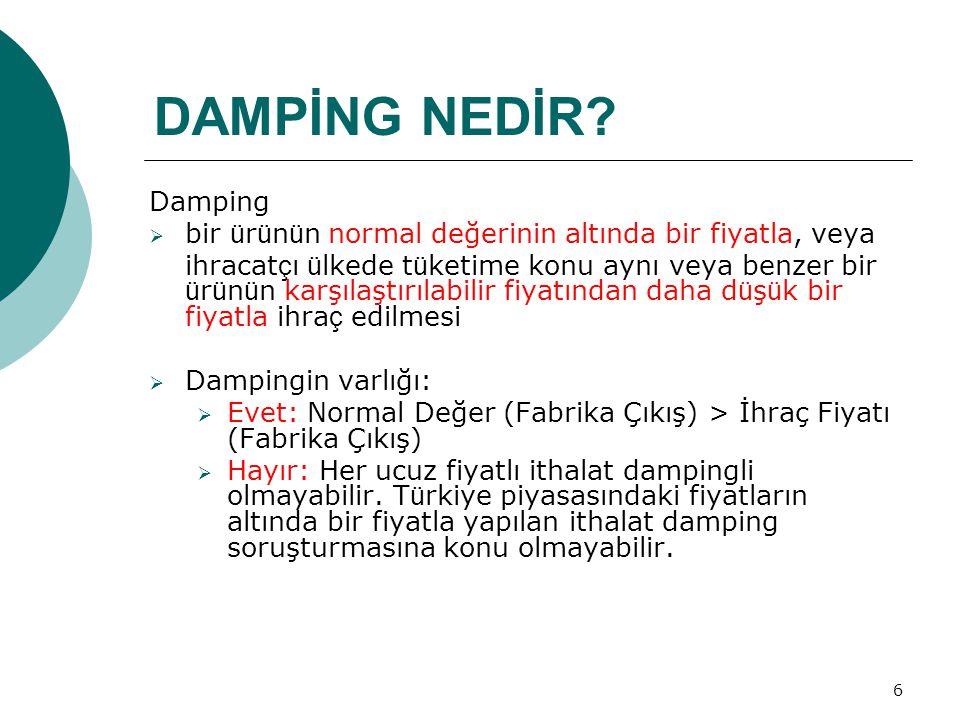 DAMPİNG NEDİR Damping. bir ürünün normal değerinin altında bir fiyatla, veya.