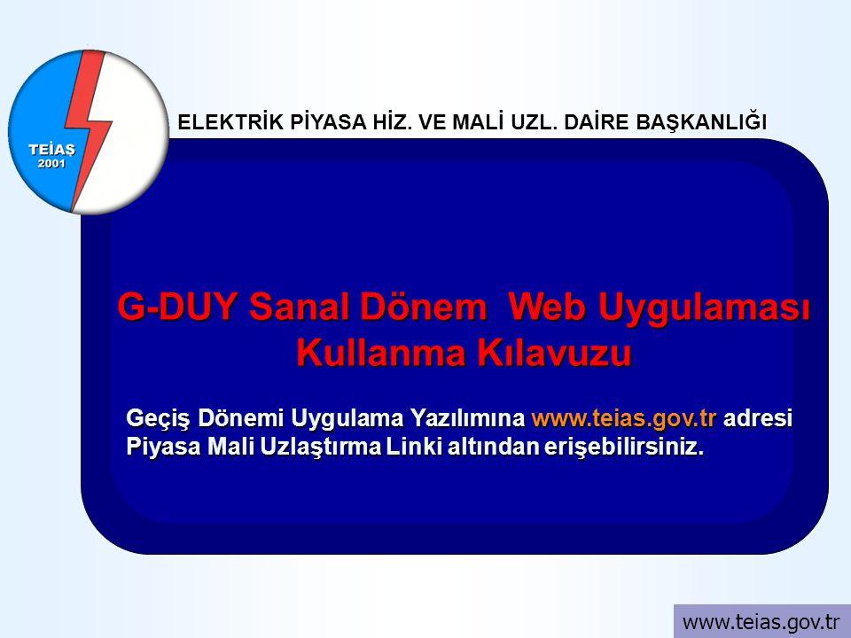G-DUY Sanal Dönem Web Uygulaması Kullanma Kılavuzu