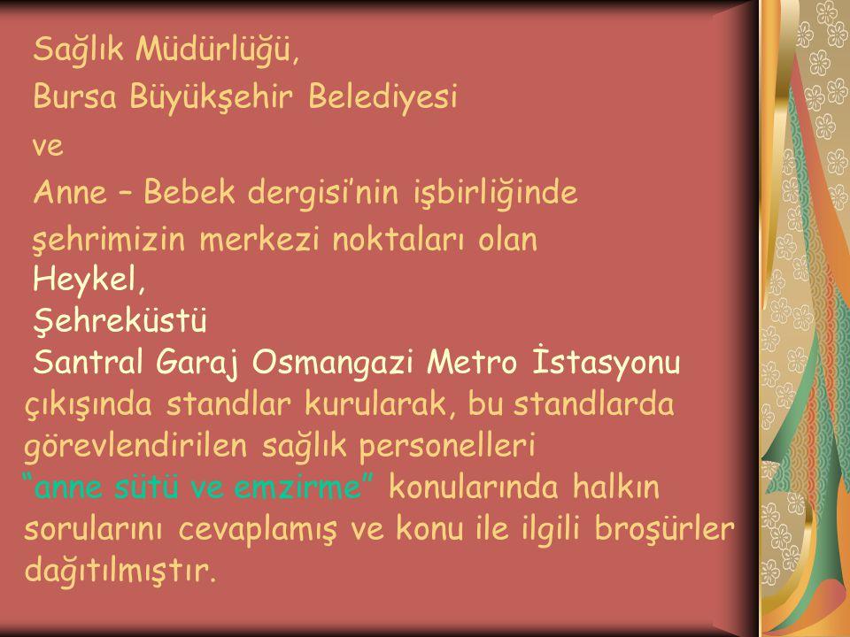 Sağlık Müdürlüğü, Bursa Büyükşehir Belediyesi. ve. Anne – Bebek dergisi'nin işbirliğinde. şehrimizin merkezi noktaları olan.