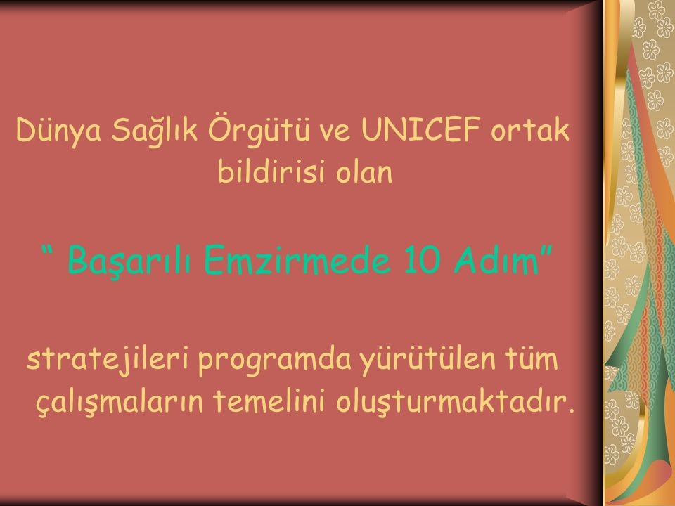 Dünya Sağlık Örgütü ve UNICEF ortak bildirisi olan