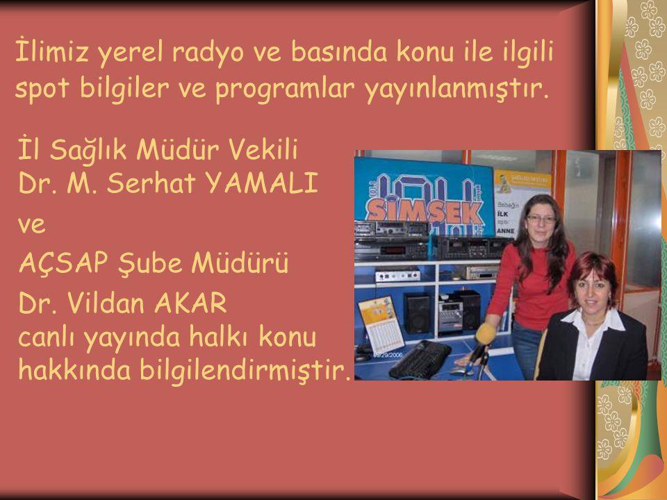 İlimiz yerel radyo ve basında konu ile ilgili spot bilgiler ve programlar yayınlanmıştır.