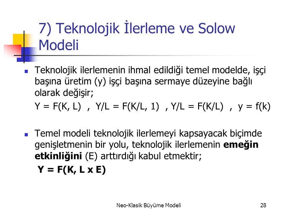 7) Teknolojik İlerleme ve Solow Modeli