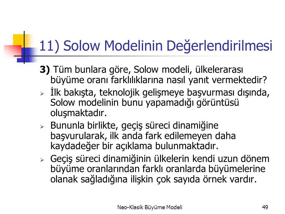11) Solow Modelinin Değerlendirilmesi