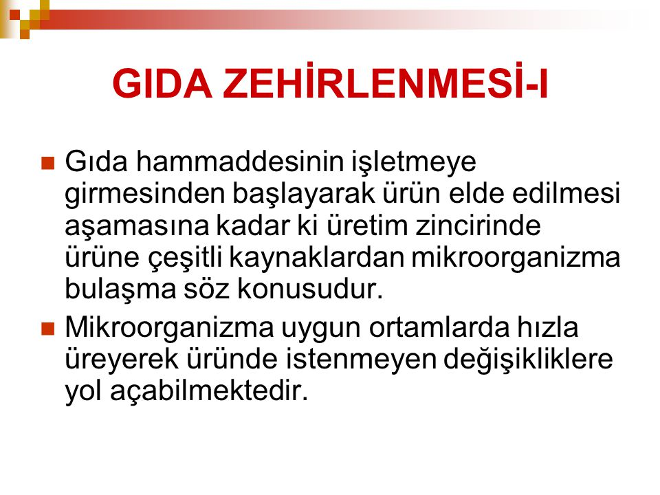 GIDA ZEHİRLENMESİ-I