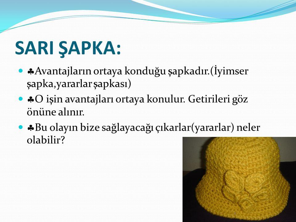 SARI ŞAPKA: Avantajların ortaya konduğu şapkadır.(İyimser şapka,yararlar şapkası) O işin avantajları ortaya konulur. Getirileri göz önüne alınır.