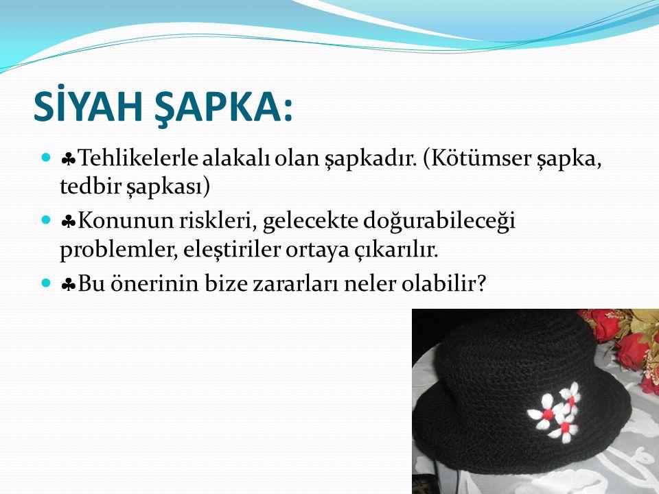 SİYAH ŞAPKA: Tehlikelerle alakalı olan şapkadır. (Kötümser şapka, tedbir şapkası)