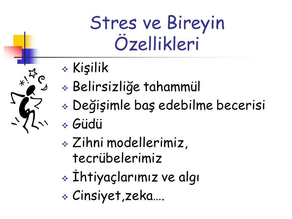 Stres ve Bireyin Özellikleri