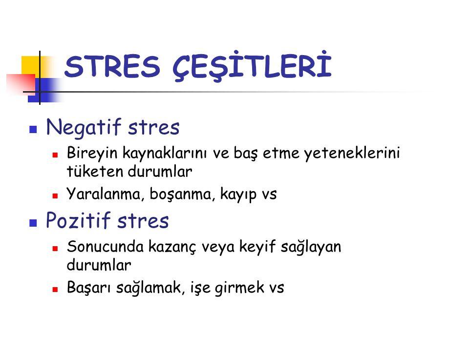 STRES ÇEŞİTLERİ Negatif stres Pozitif stres