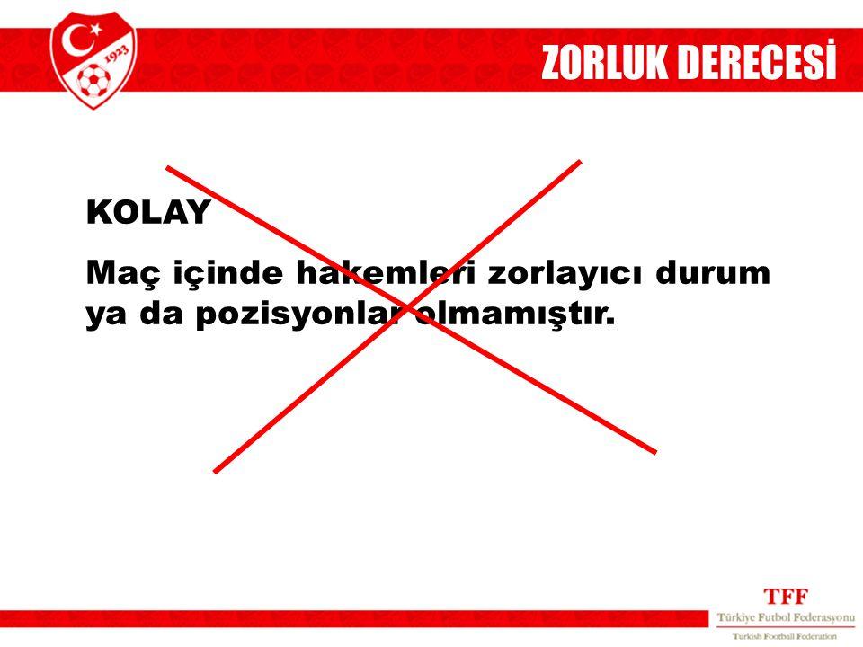 ZORLUK DERECESİ KOLAY Maç içinde hakemleri zorlayıcı durum ya da pozisyonlar olmamıştır. 6
