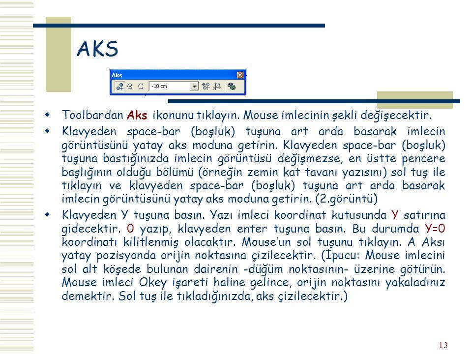 AKS Toolbardan Aks ikonunu tıklayın. Mouse imlecinin şekli değişecektir.