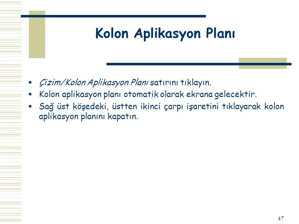 Kolon Aplikasyon Planı