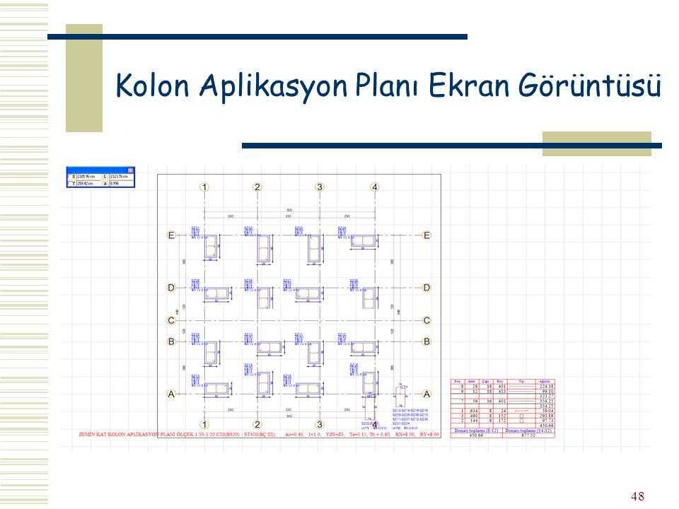 Kolon Aplikasyon Planı Ekran Görüntüsü
