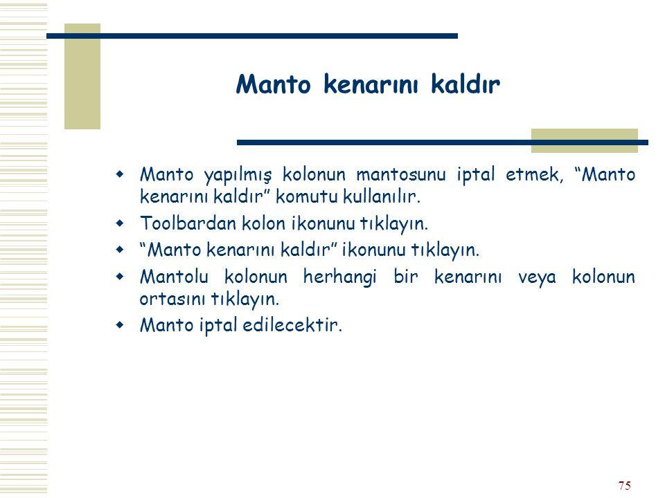 Manto kenarını kaldır Manto yapılmış kolonun mantosunu iptal etmek, Manto kenarını kaldır komutu kullanılır.