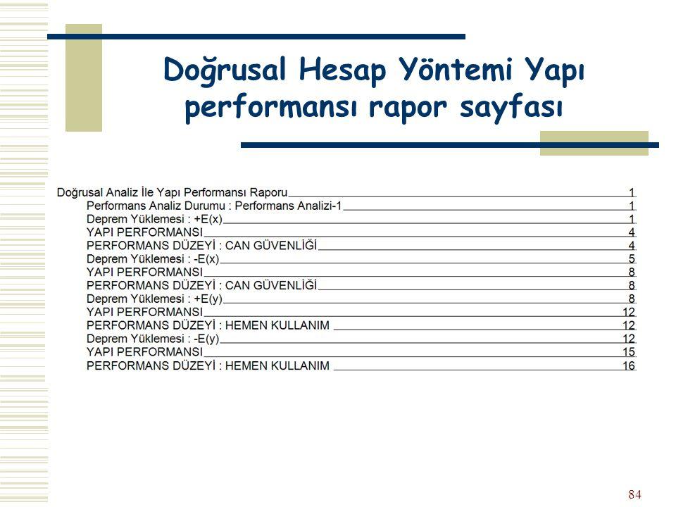 Doğrusal Hesap Yöntemi Yapı performansı rapor sayfası