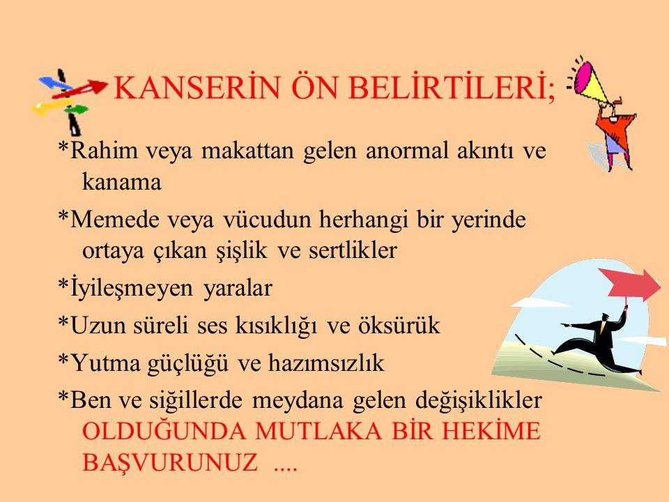 KANSERİN ÖN BELİRTİLERİ;