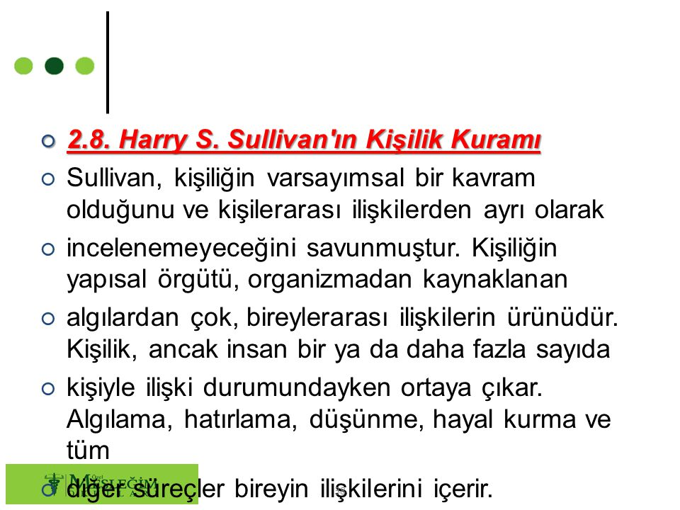 2.8. Harry S. Sullivan ın Kişilik Kuramı
