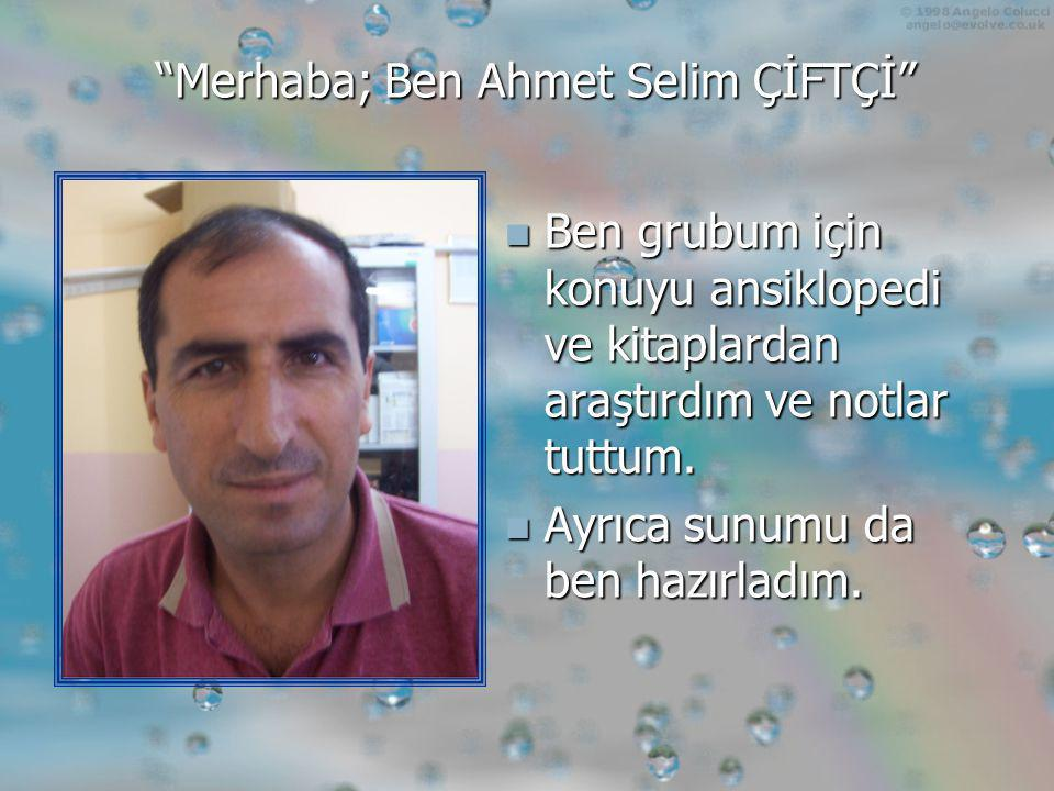 Merhaba; Ben Ahmet Selim ÇİFTÇİ