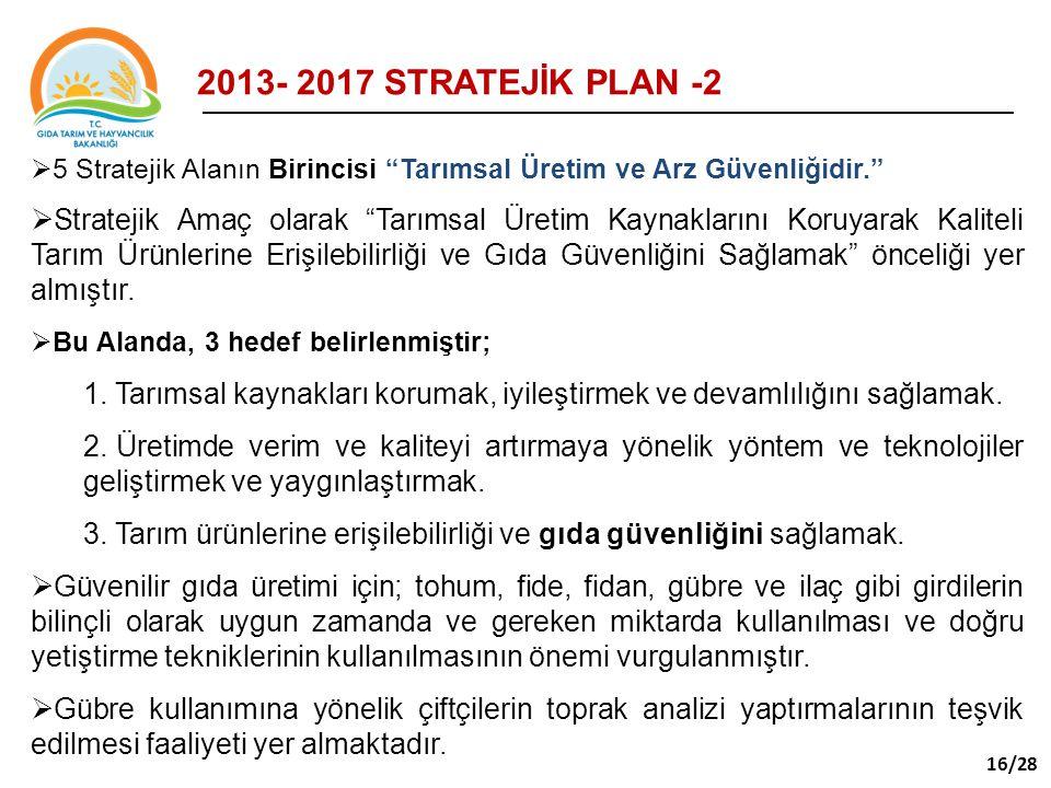 2013- 2017 STRATEJİK PLAN -2 5 Stratejik Alanın Birincisi Tarımsal Üretim ve Arz Güvenliğidir.