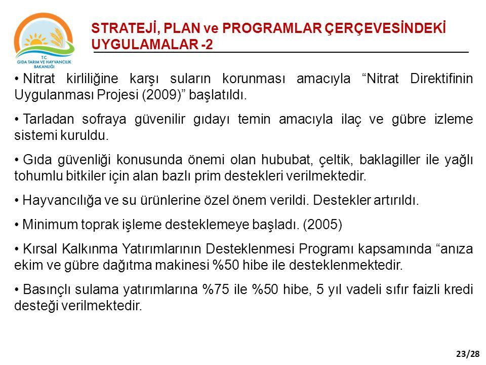 STRATEJİ, PLAN ve PROGRAMLAR ÇERÇEVESİNDEKİ UYGULAMALAR -2
