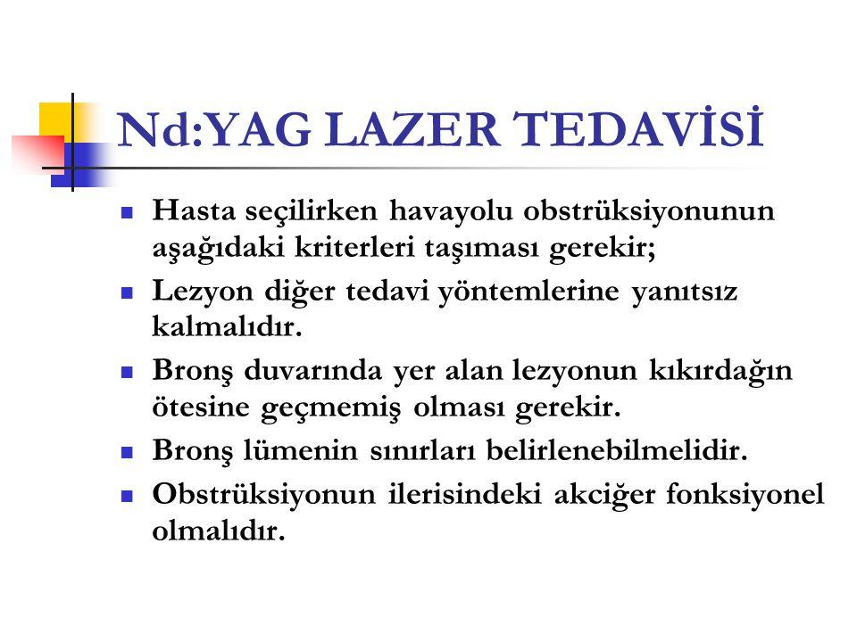Nd:YAG LAZER TEDAVİSİ Hasta seçilirken havayolu obstrüksiyonunun aşağıdaki kriterleri taşıması gerekir;