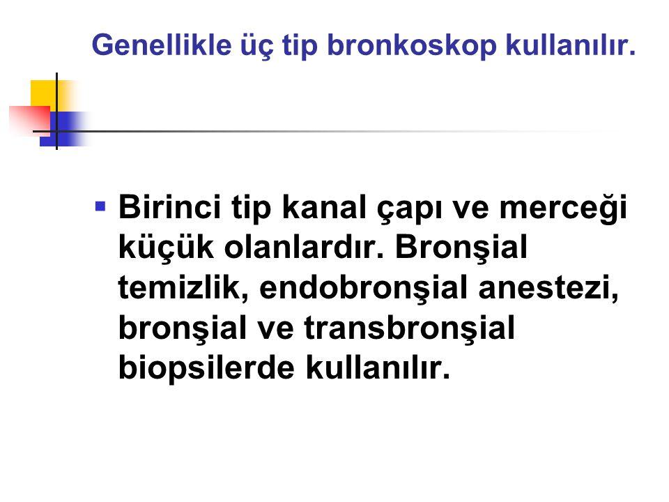 Genellikle üç tip bronkoskop kullanılır.